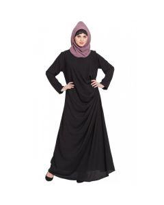Nazneen Pleating at waist casual Black Abaya