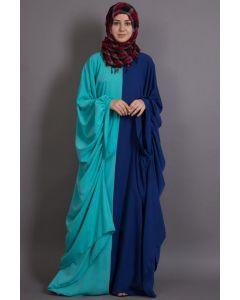 Nazneen Contrast one piece Casual  Royal Blue & Acqua Abaya