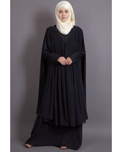 Nazneen embroidered neck band double layer Party Abaya BLACK