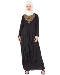 Nazneen Neck  Embroidered Party Abaya Black/Gold