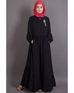 NAZNEEN Balloon Sleeve Bohemian Black Abaya