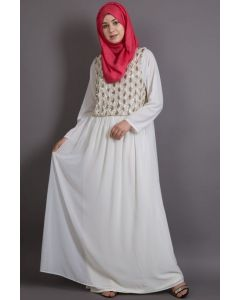NAZNEEN Embellished Creamy Party Burqown ( Burqa+Gown)