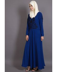 Nazneen Embroidered Royal Blue Party Abaya